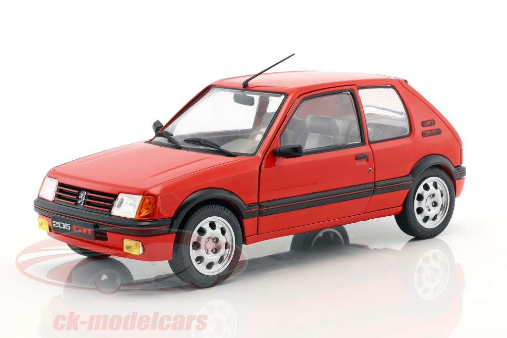 Peugeot 205 GTI MK1 Opførselsår 1988 rød 1:18 Solido