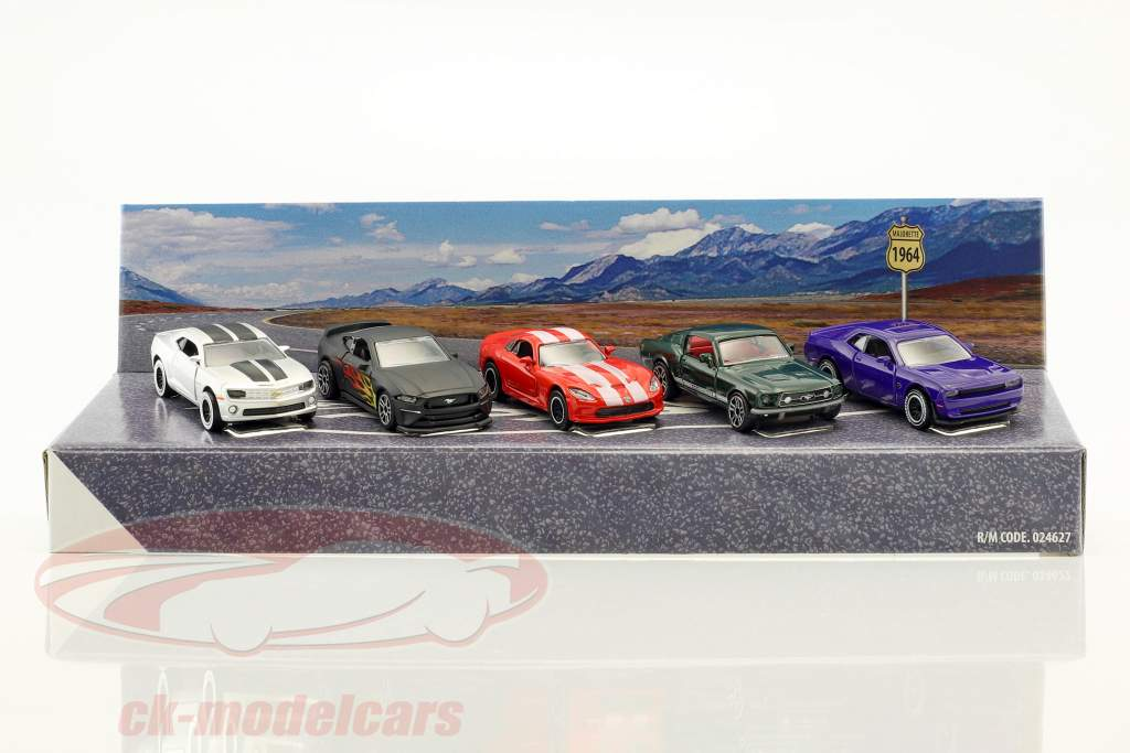 5-Car Set American Muscle Cars Geschenkpackung 1:64 Majorette