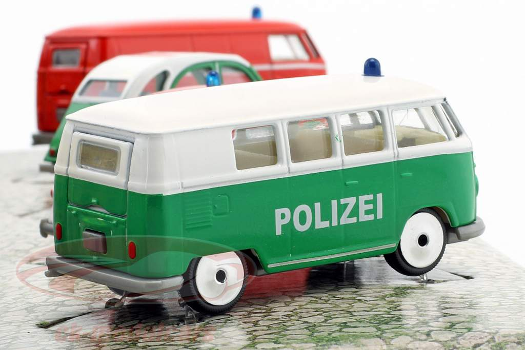 4-Car Set Vintage S.O.S police & pompiers Paquet cadeau 1:64 Majorette