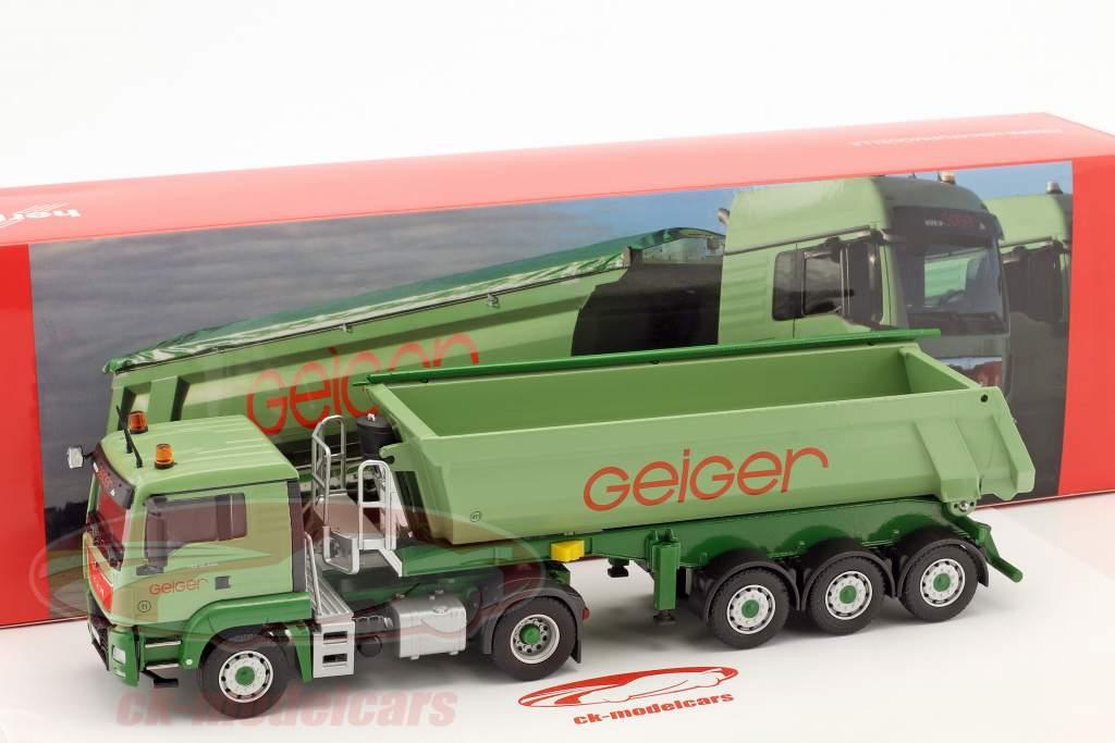 MAN TGS L Rundmulden-Sattelzug Geiger grün 1:50 Herpa