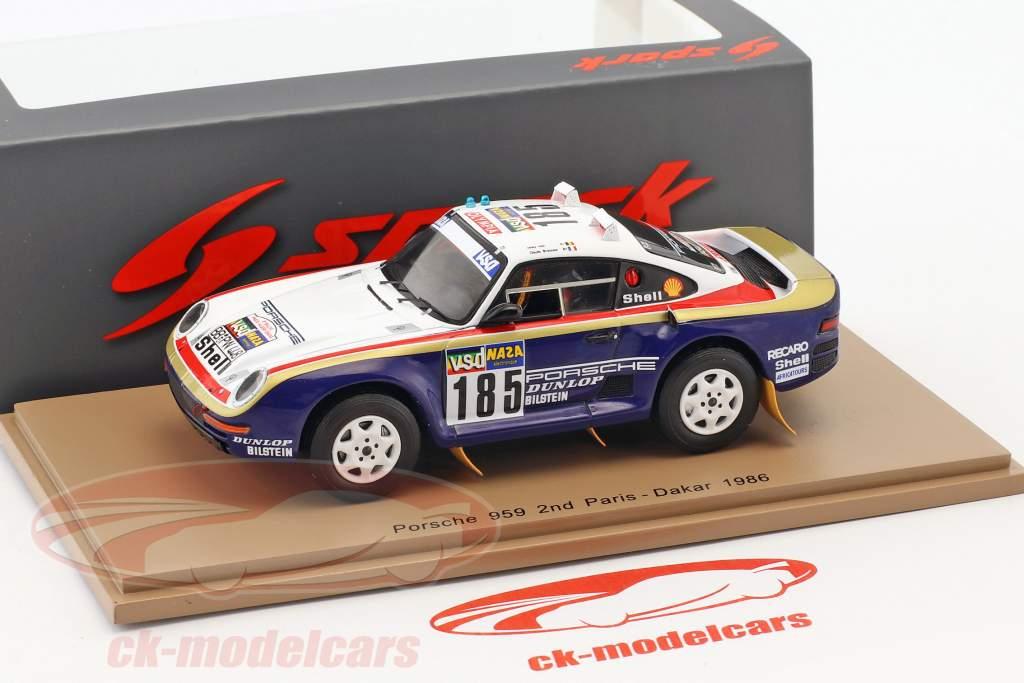 Porsche 959 #185 2nd Rallye Paris - Dakar 1986 Ickx, Brasseur 1:43 Spark