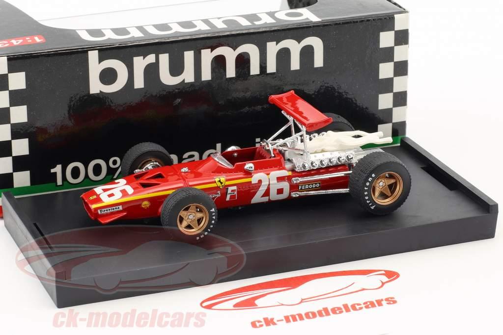 Jacky Ickx Ferrari 312 F1 #26 Vinder Frankrig GP formel 1 1968 1:43 Brumm