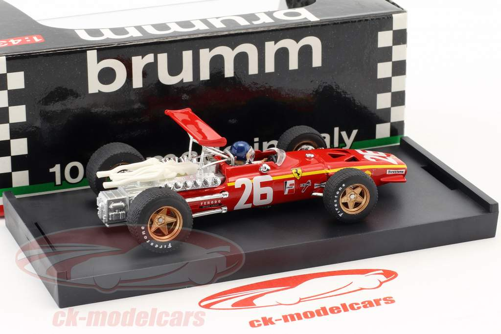 Jacky Ickx Ferrari 312 F1 #26 Vinder Frankrig GP formel 1 1968 med chauffør figur 1:43 Brumm
