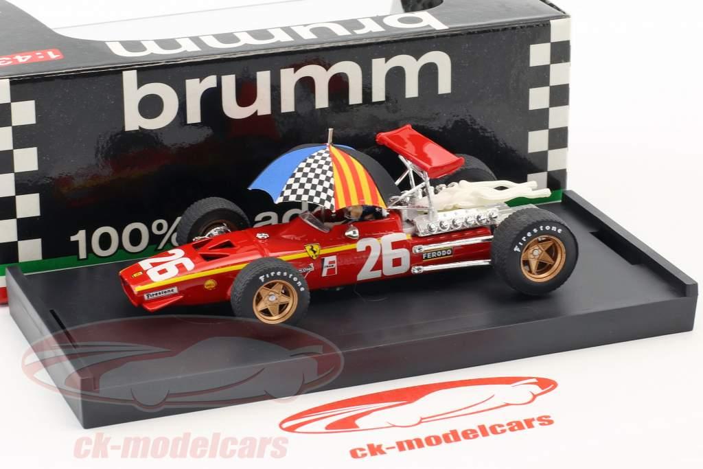 Jacky Ickx Ferrari 312 F1 #26 Winner Frankreich GP Formel 1 1968 mit Schirm 1:43 Brumm