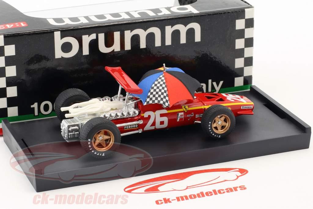 Jacky Ickx Ferrari 312 F1 #26 Sieger Frankreich GP F1 1968 mit Schirm 1:43 Brumm