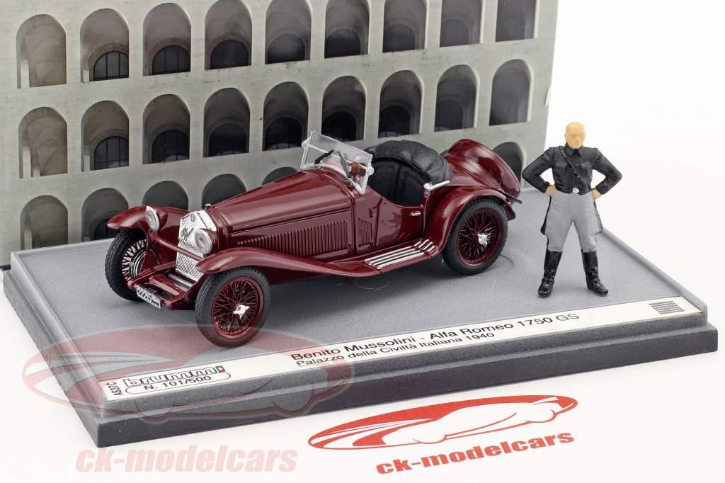Alfa Romeo 1750 GS Palazzo della Civilta Italiana 1940 with figure B. Mussolini maroon 1:43 Brumm