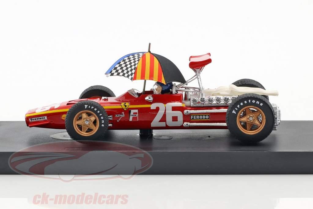 Jacky Ickx Ferrari 312 F1 #26 gagnant France GP formule 1 1968 avec bouclier 1:43 Brumm