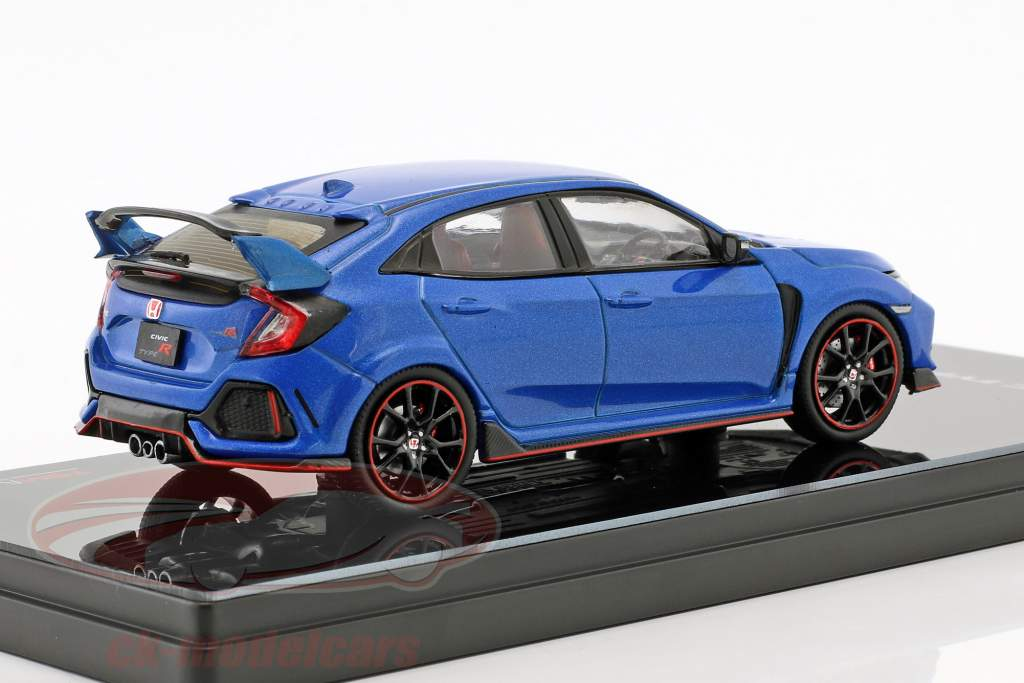 Honda Civic typen R RHD Opførselsår 2017 aegean blå metallisk 1:43 TrueScale