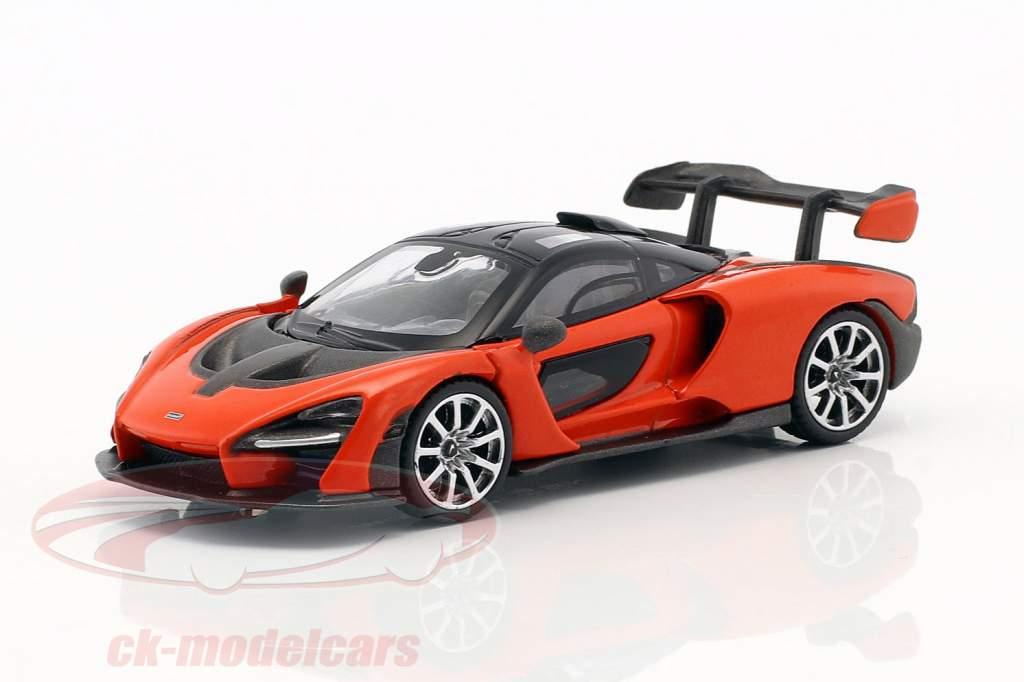 McLaren Senna LHD mira laranja 1:64 TrueScale