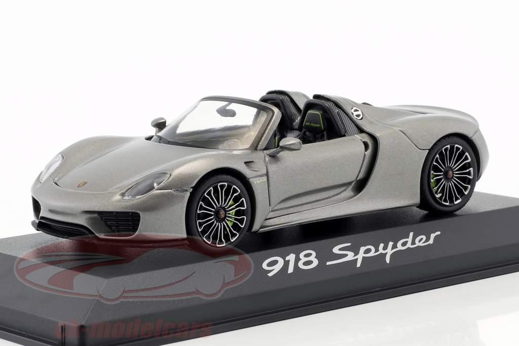 Porsche 918 Spyder Opførselsår 2013 liquid metal sølv 1:43 Minichamps