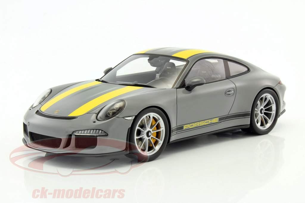 Porsche 911 (991) R nardo gray / amarillo con escaparate 1:18 Spark