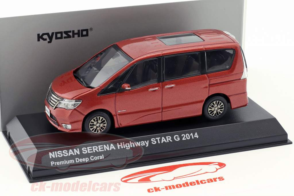 Nissan Serena minivan Highway Star G ano de construção 2014 coral vermelho metálico 1:43 Kyosho