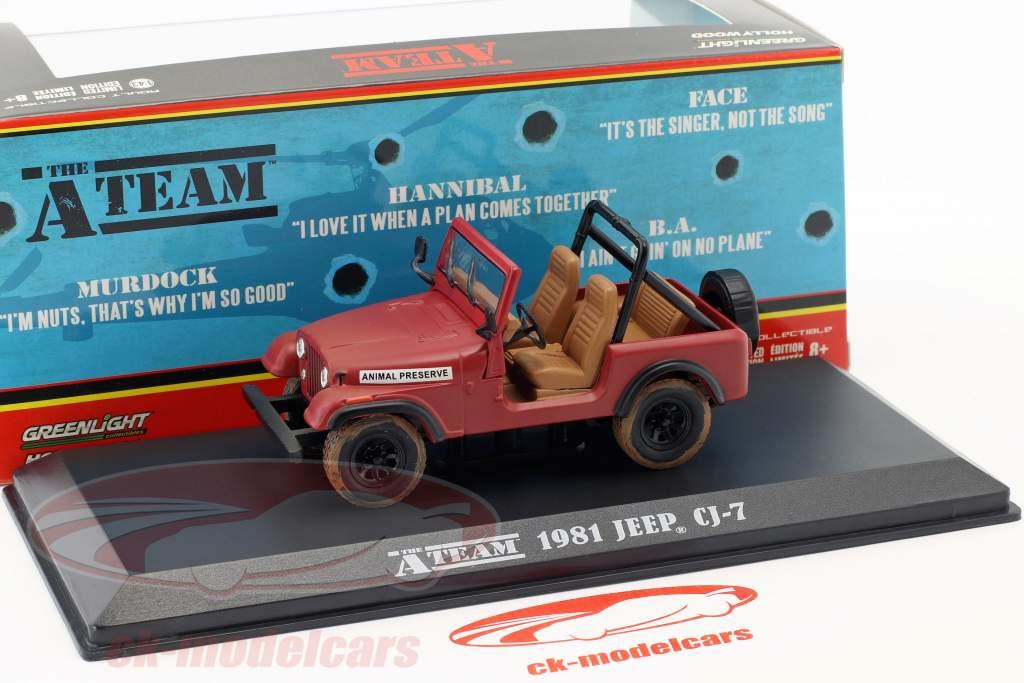 Jeep CJ-7 TV series The A-Team (1983-87) red 1:43 Greenlight