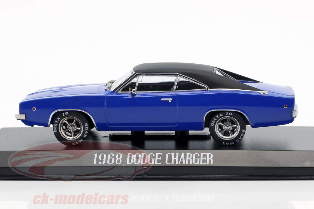 Dennis Guilder's Dodge Charger Bouwjaar 1968 film Christine (1983) blauw / zwart 1:43 Greenlight