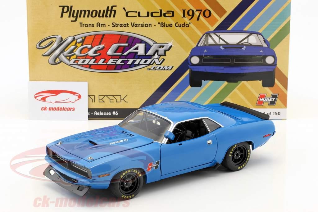 Plymouth Cuda Trans Am Street Version year 1970 blue 1:18 GMP