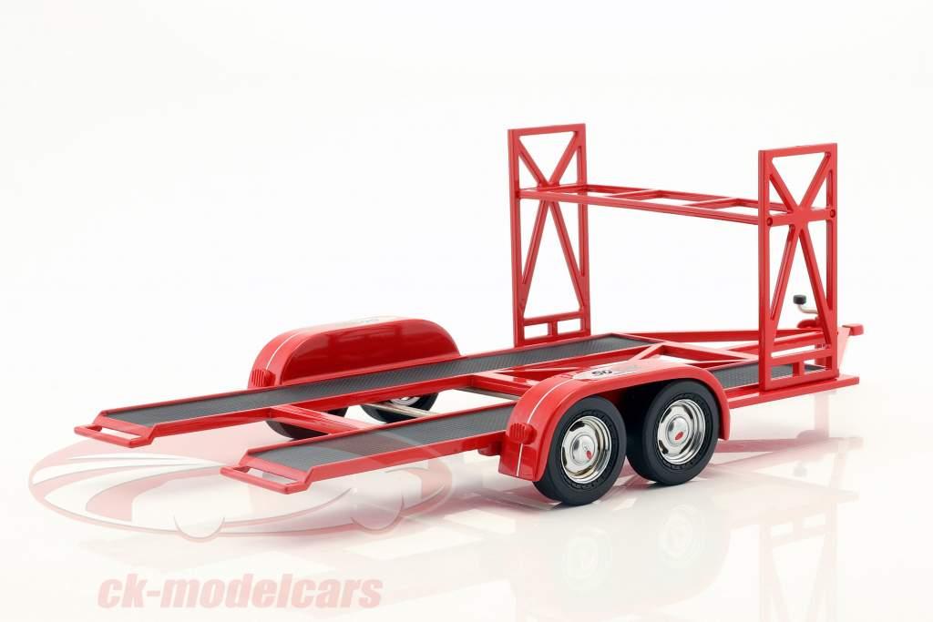 tandem bil trailer So-Cal Speed Shop rød / hvid / sort 1:18 GMP