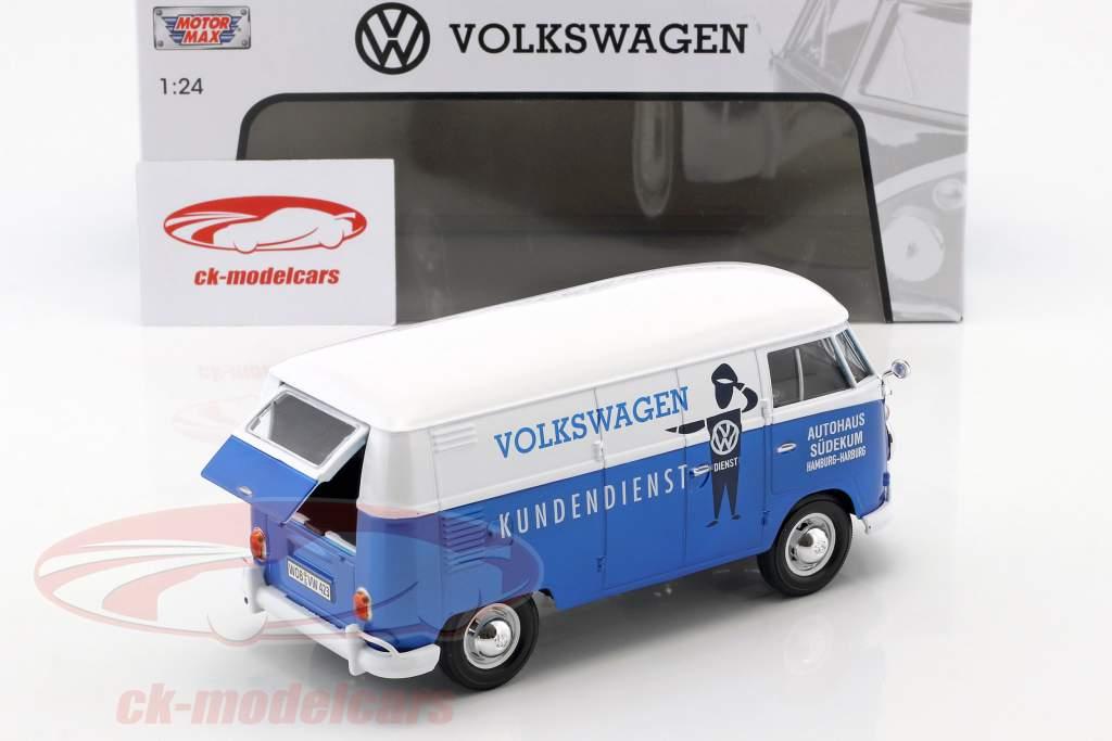 Volkswagen VW Type 2 T1 van VW service clients bleu / blanc 1:24 MotorMax