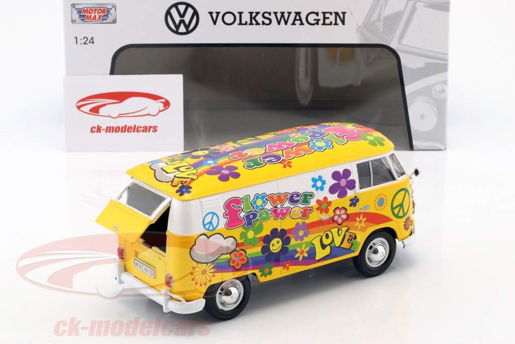 Volkswagen VW Type 2 T1 van Flower Power 2 gul / appelsin 1:24 MotorMax