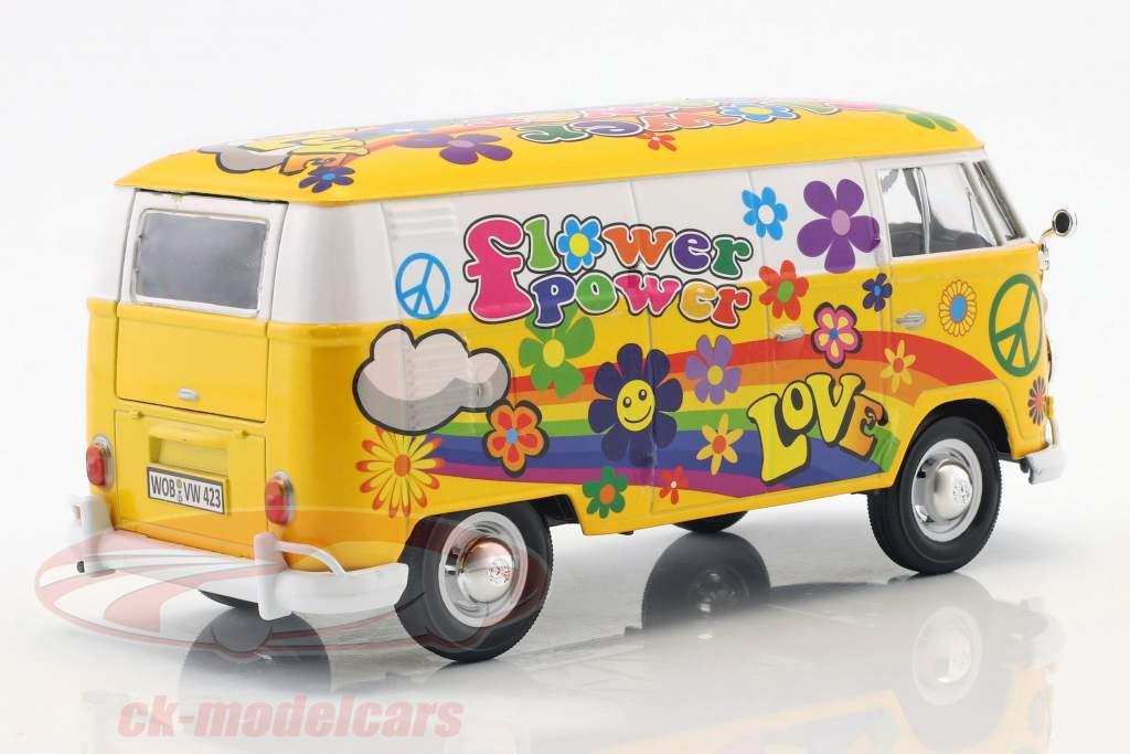 Volkswagen VW Type 2 T1 van Flower Power 2 jaune / orange 1:24 MotorMax