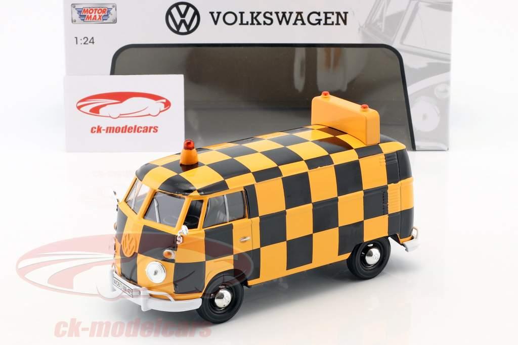 Volkswagen VW Type 2 T1 busje Airport Runway oranje / zwart 1:24 MotorMax