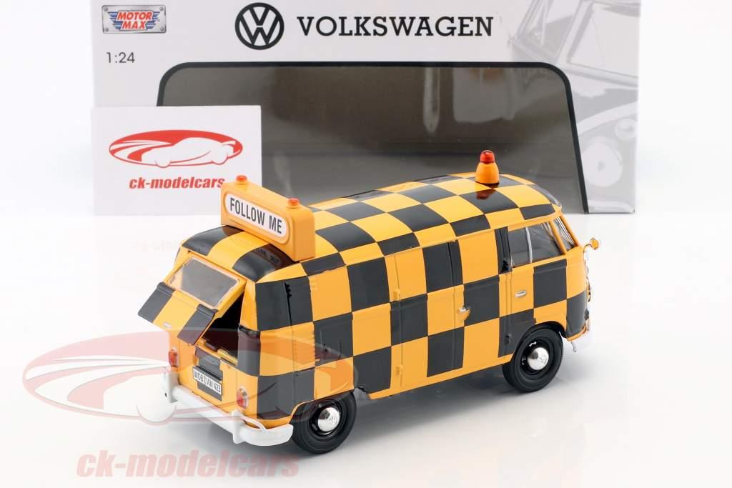 Volkswagen VW Type 2 T1 van Airport Runway laranja / preto 1:24 MotorMax