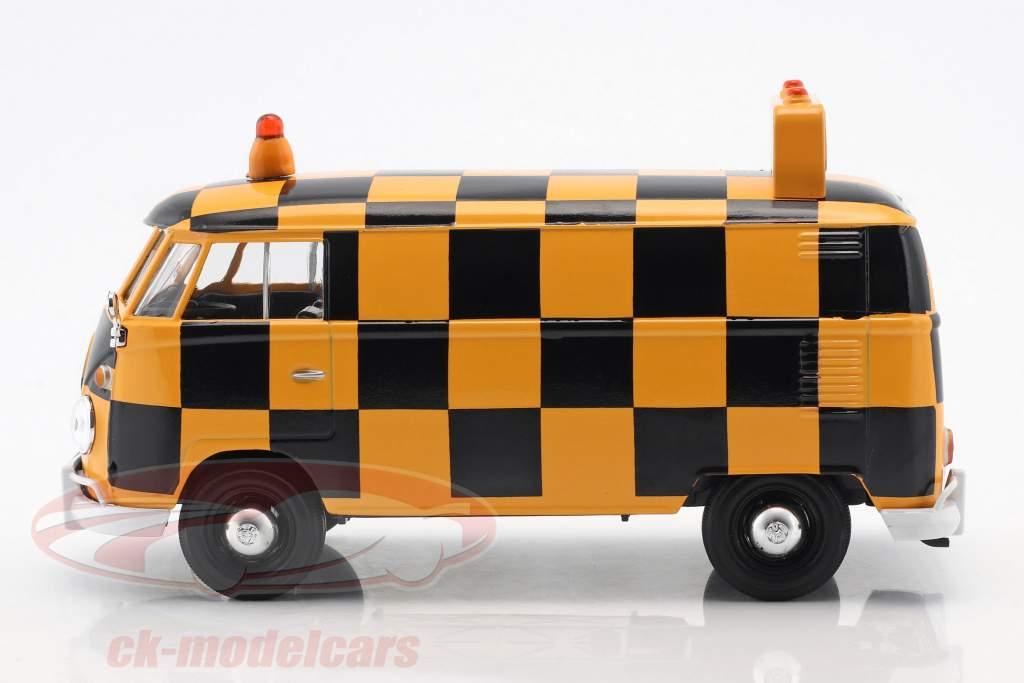 Volkswagen VW Type 2 T1 furgone Airport Runway arancione / nero 1:24 MotorMax