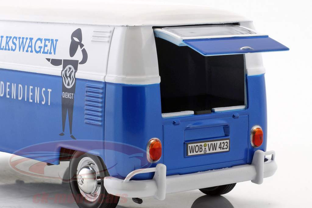 Volkswagen VW Type 2 T1 van VW kundeservice blå / hvid 1:24 MotorMax