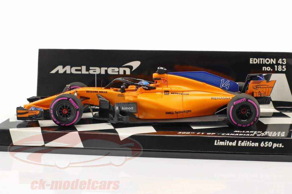 F. Alonso McLaren MCL33 #14 300th F1 GP Kanada Formel 1 2018 1:43 Minichamps