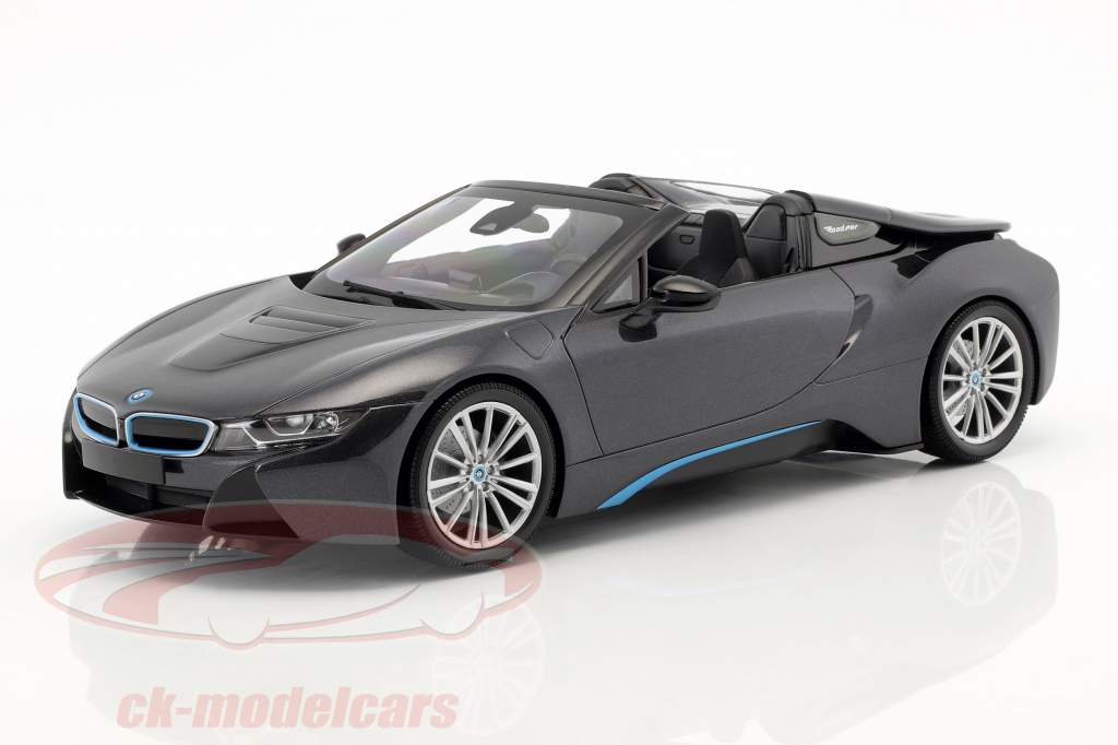 BMW I8 Roadster (I15) ano de construção 2018 cinza metálico 1:18 Minichamps