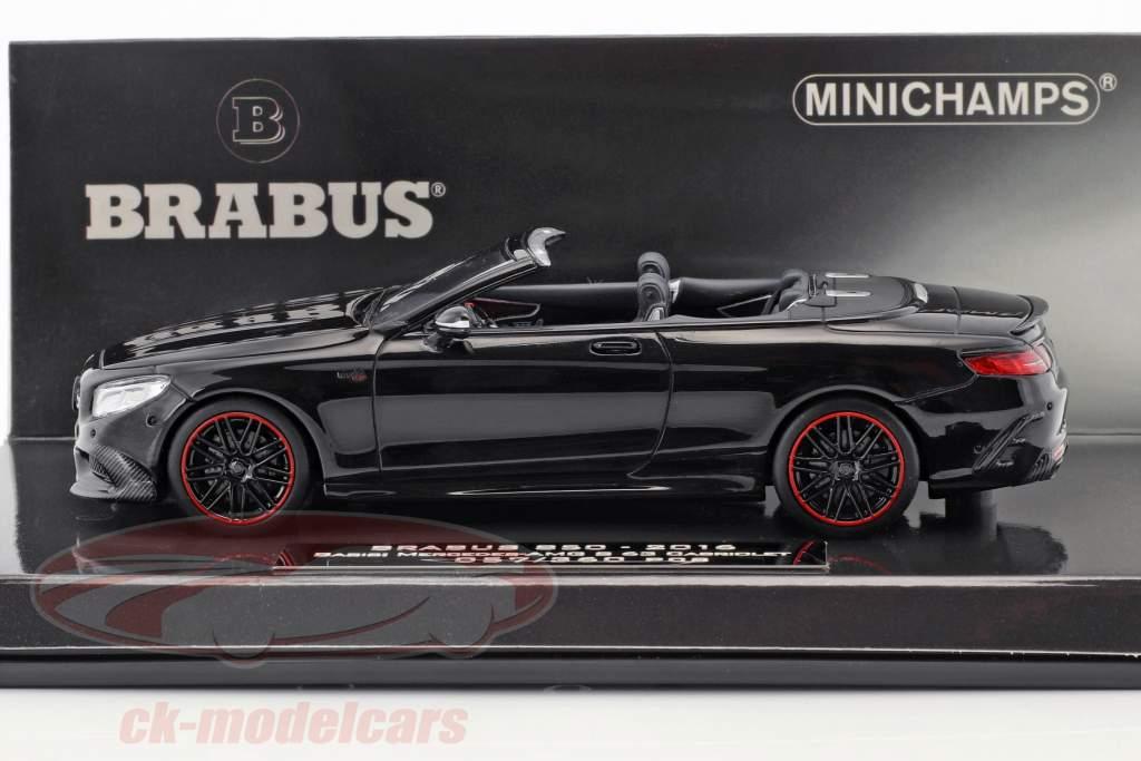 Brabus 850 baserede på Mercedes-Benz AMG S 63 Cabriolet Opførselsår 2016 sort 1:43 Minichamps