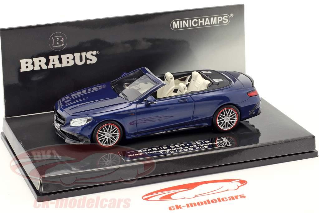 Brabus 850 basado en Mercedes-Benz AMG S 63 cabriolé año de construcción 2016 azul oscuro 1:43 Minichamps