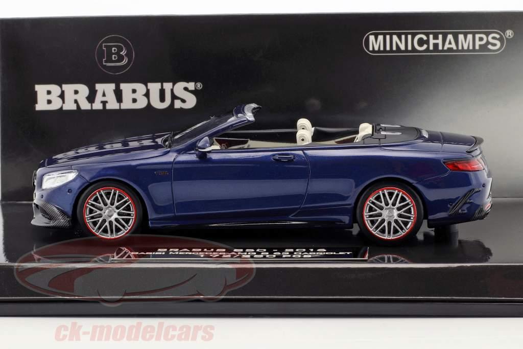 Brabus 850 baseado em Mercedes-Benz AMG S 63 cabriolé ano de construção 2016 azul escuro 1:43 Minichamps