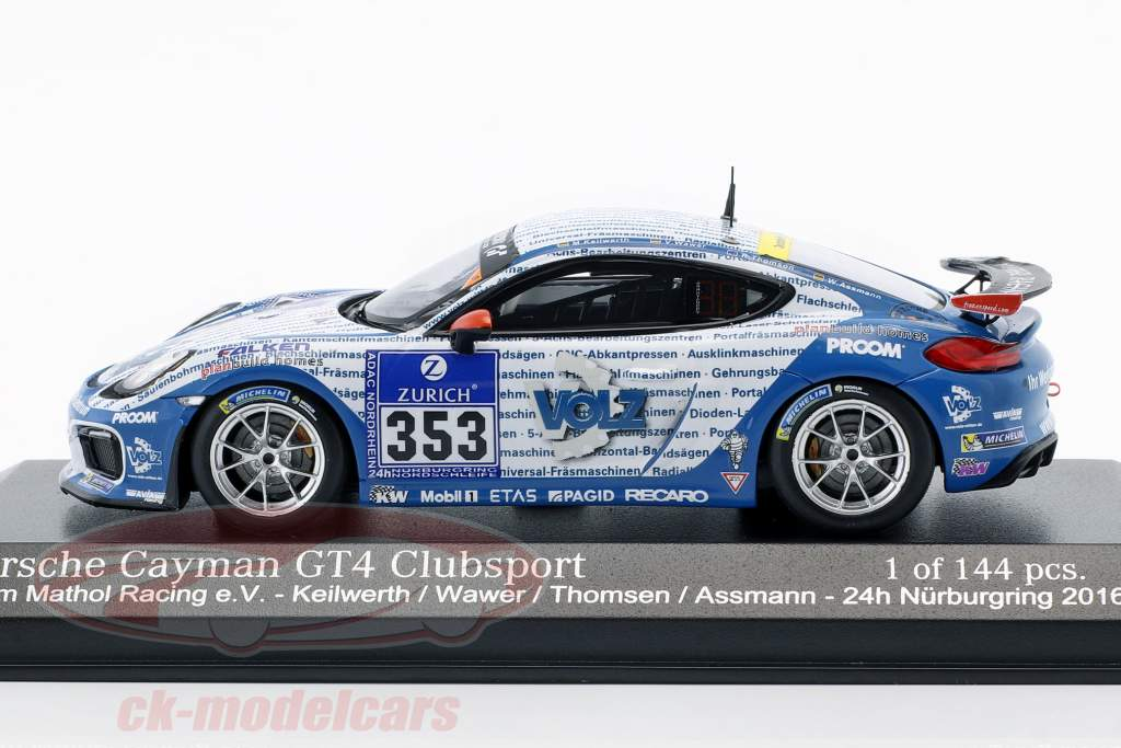 Porsche Cayman GT4 Clubsport #353 24h Nürburgring 2016  Mathol Racing e.V. 1:43 Minichamps
