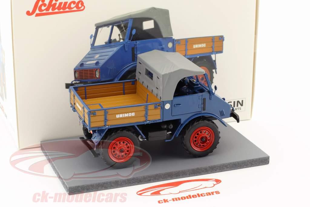 Mercedes-Benz Unimog 401 com berço de madeira azul 1:32 Schuco