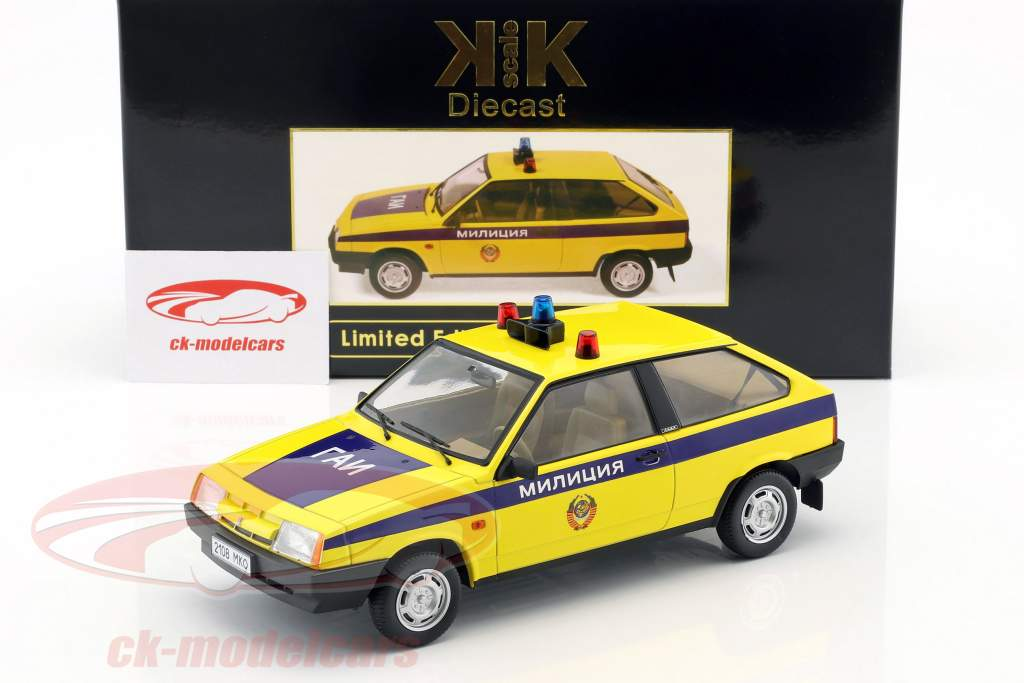 Lada Samara politi Rusland Opførselsår 1984 gul / blå 1:18 KK-Scale