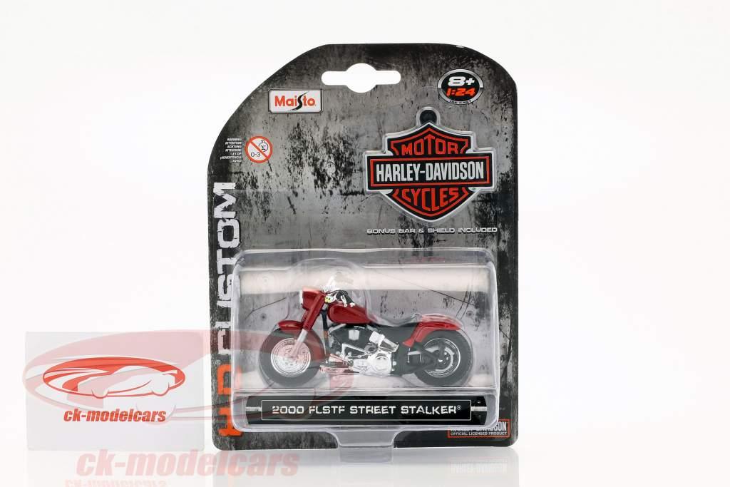 Harley Davidson FLSTF Street Stalker year 2000 red 1:24 Maisto
