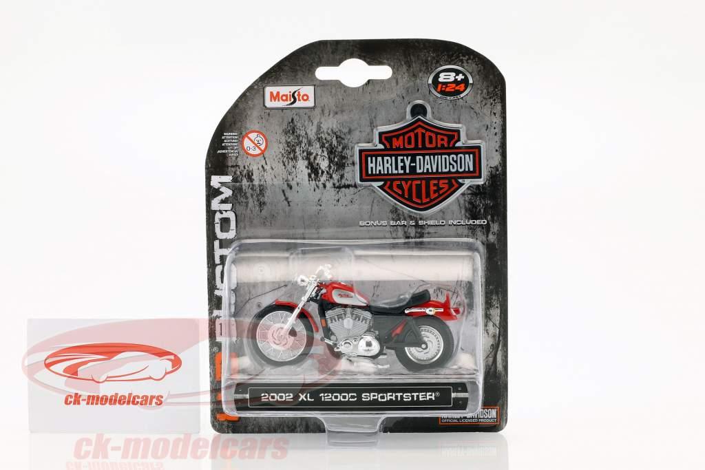 Harley Davidson XL 1200C Sportster Bouwjaar 2002 rood 1:24 Maisto