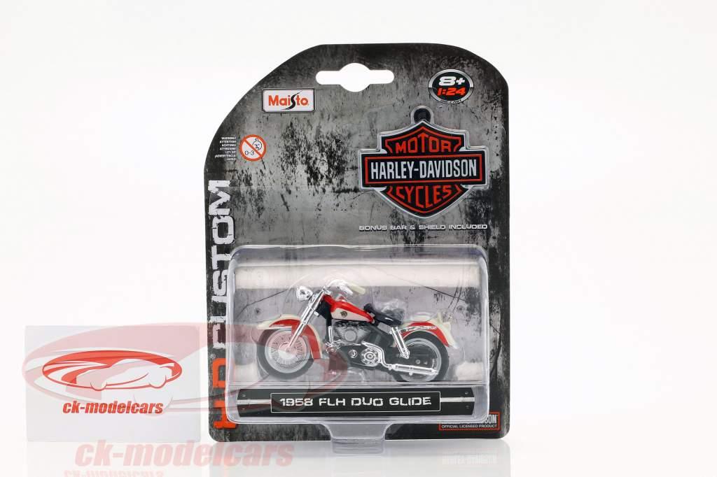 Harley Davidson FLH Duo Glide year 1958 red / white 1:24 Maisto