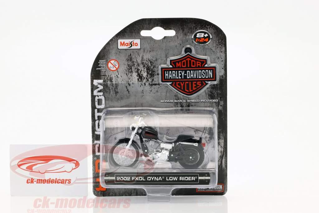 Harley Davidson FXDL Dyna Low Rider Construction year 2002 black 1:24 Maisto