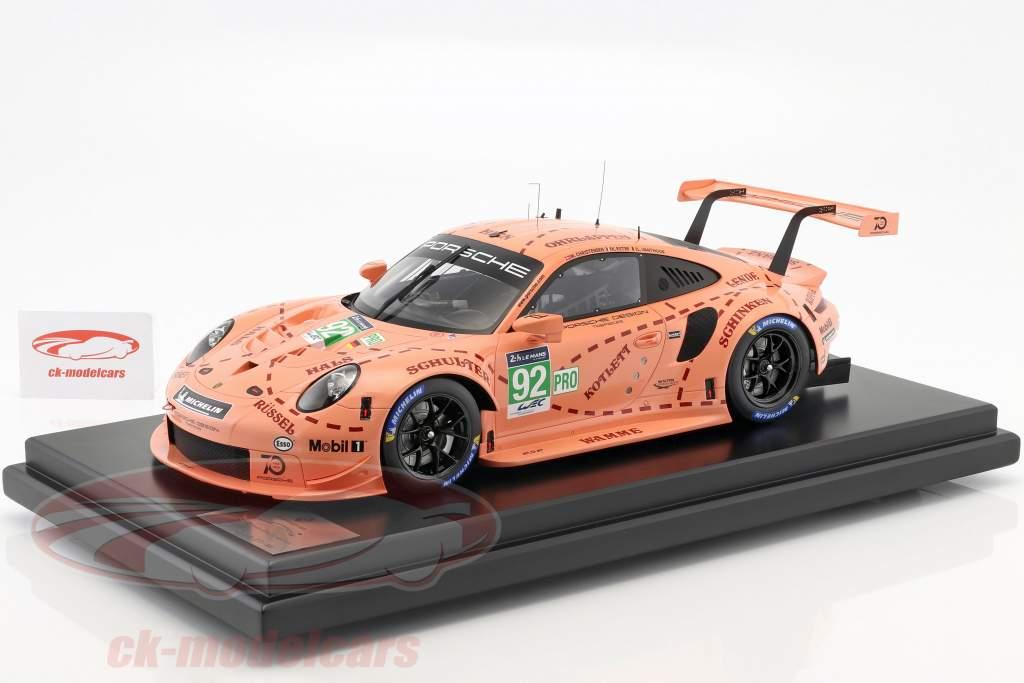 Porsche 911 (991) RSR #92 Pink Pig Tribute 24h LeMans 2018 Porsche GT Team 1:12 avec vitrine Spark