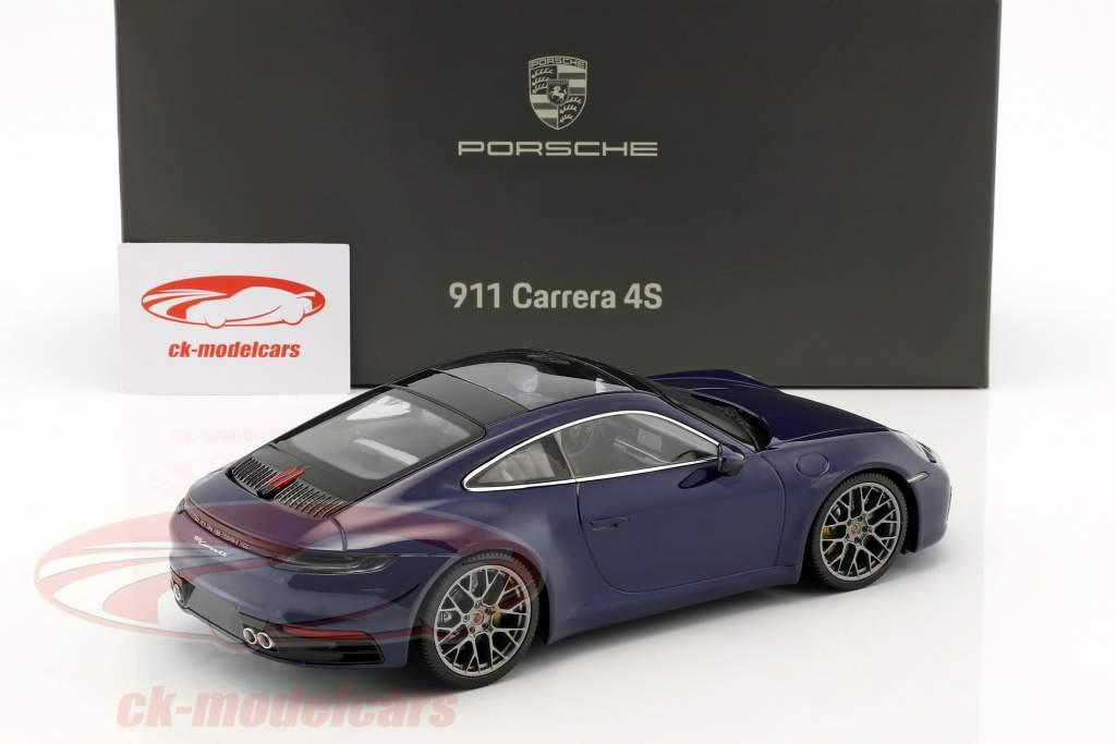 Porsche 911 (992) Carrera 4S Opførselsår 2019 ensian blå 1:18 Minichamps