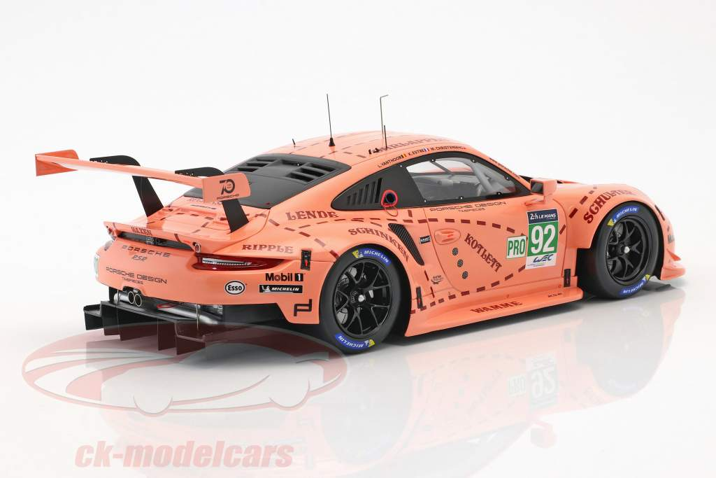 Porsche 911 (991) RSR #92 Pink Pig Tribute 24h LeMans 2018 Porsche GT team 1:18 with showcase Spark