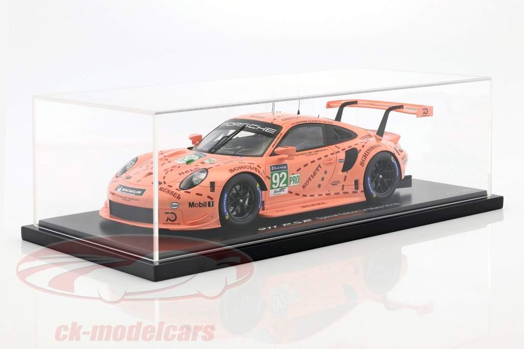 Porsche 911 (991) RSR #92 Pink Pig Tribute 24h LeMans 2018 Porsche GT hold 1:18 med udstillingsvindue Spark