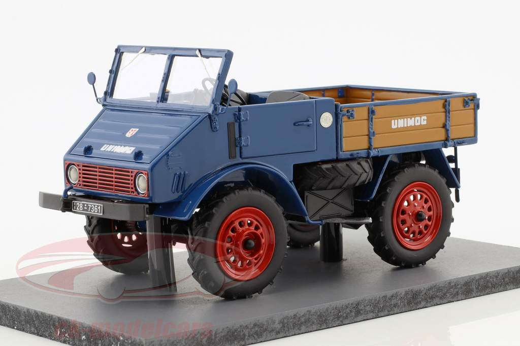 Mercedes-Benz Unimog 401 avec lit en bois bleu 1:32 Schuco