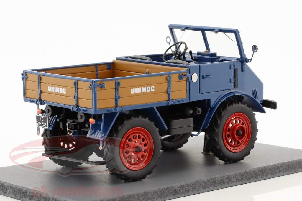 Mercedes-Benz Unimog 401 con lettino in legno blu 1:32 Schuco