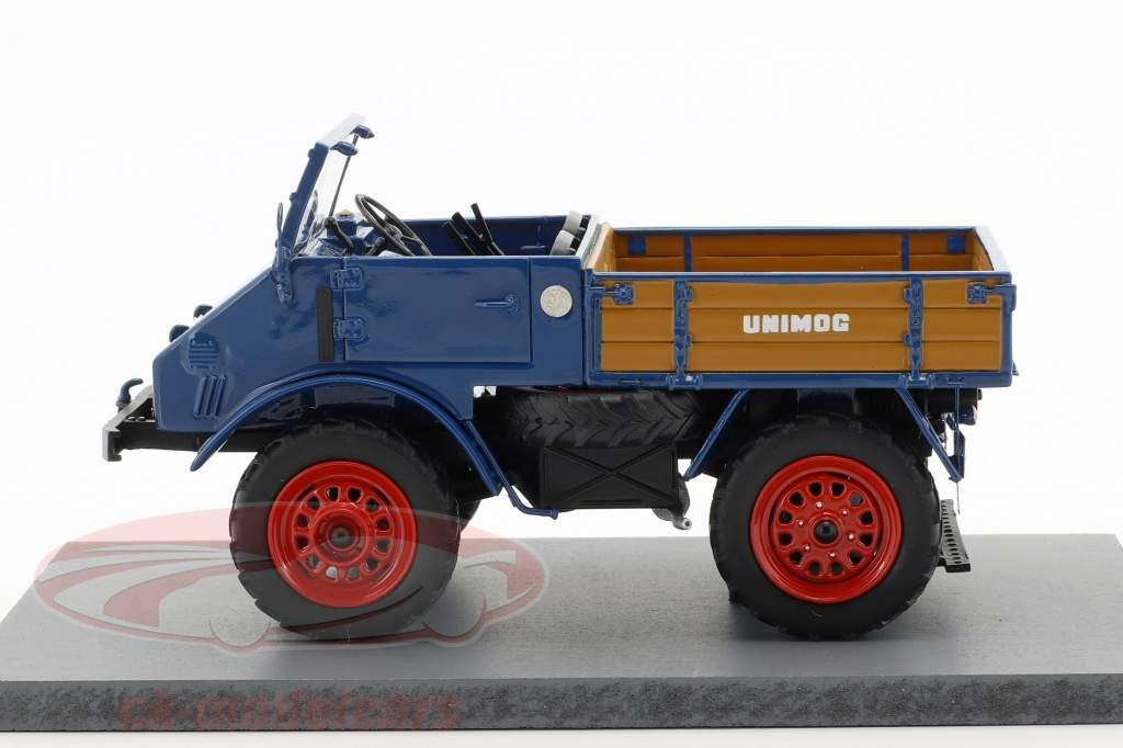 Mercedes-Benz Unimog 401 with wooden bed blue 1:32 Schuco