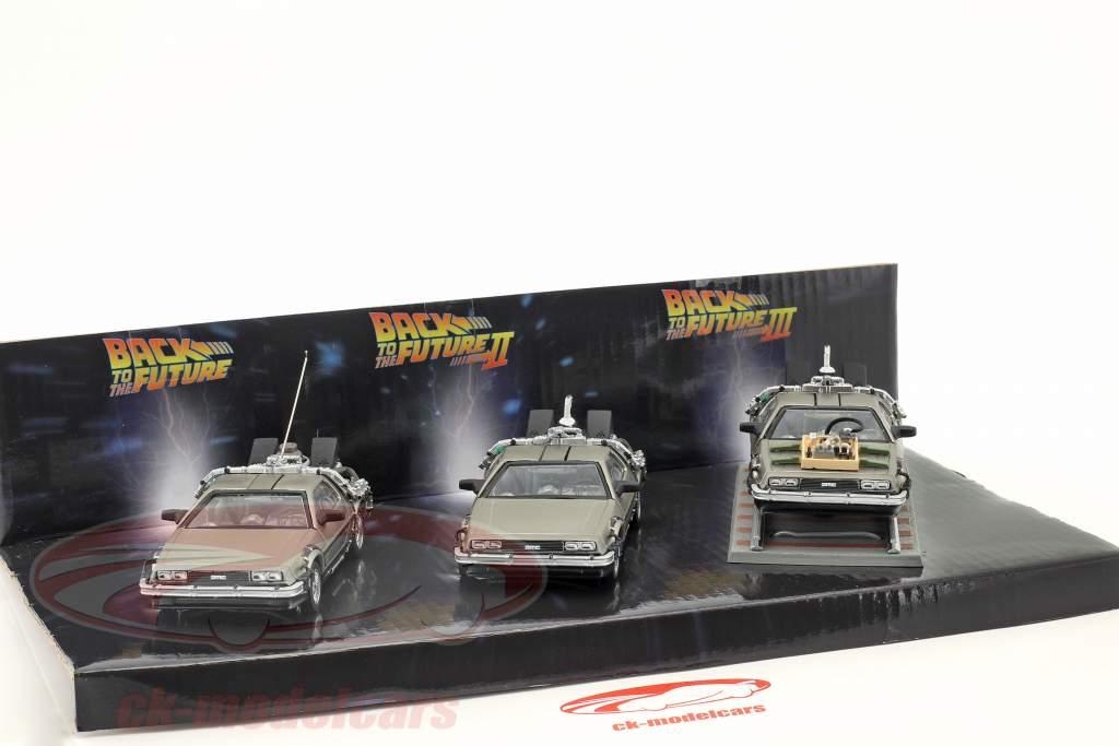 DeLorean DMC-12 Tilbage Til Fremtiden 3 Car Set 1:43 SunStar