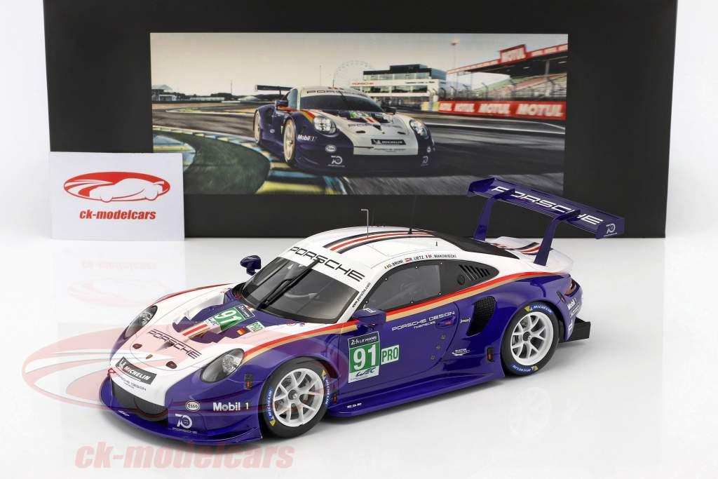 Porsche 911 (991) RSR #91 2nd LMGTE Pro 24h LeMans 2018 Porsche GT Team mit Vitrine 1:18 Spark