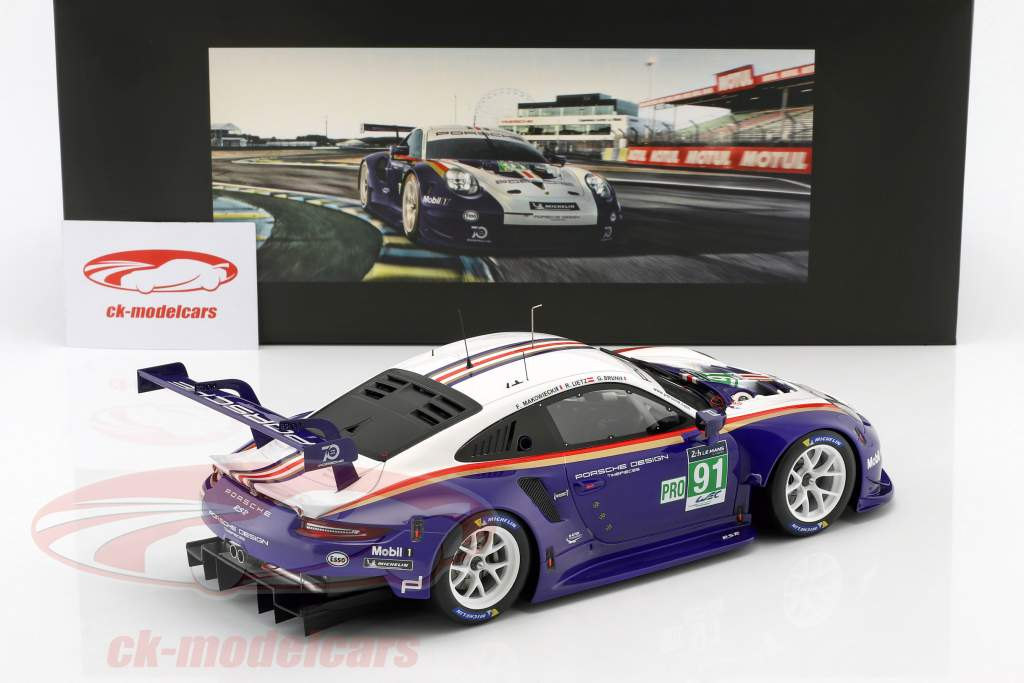 Porsche 911 (991) RSR #91 2 LMGTE Pro 24h LeMans 2018 Porsche GT Team avec vitrine 1:18 Spark