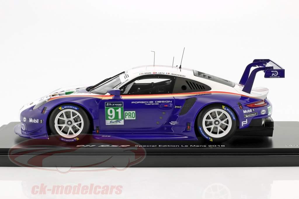Porsche 911 (991) RSR #91 segundo LMGTE Pro 24h LeMans 2018 Porsche GT Team con escaparate 1:18 Spark